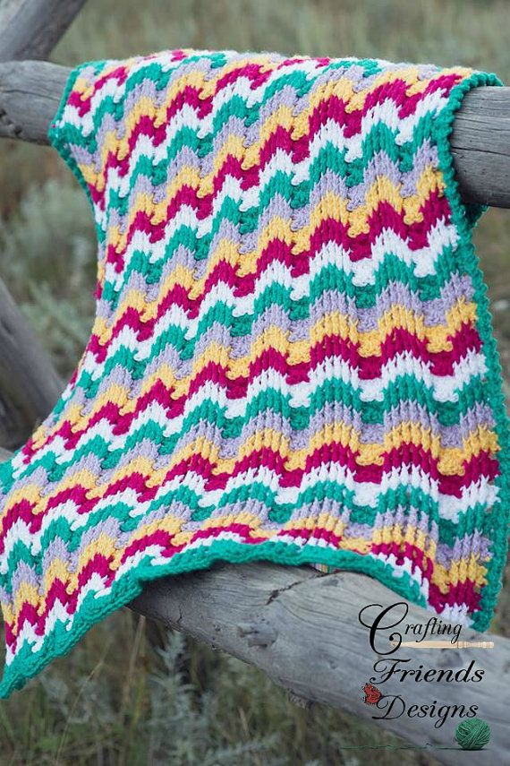Crochet Pattern Reversible Textured Chevron Afghan by Crafting Friends Designs