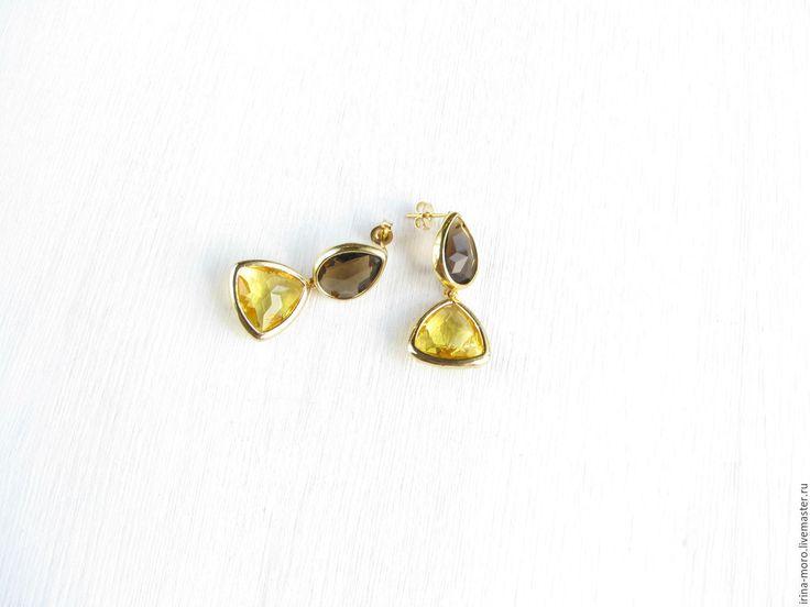 """Купить Серьги """"Горчица"""" - серьги золотые горчичный, серьги горчичный золотые, золотые серьги горчичный.Beautiful, original stud earrings """"Mustard"""" with mustard and brown jeweler's glass.#earring #jewelry #whiteearrings #goldearrings #dangleearrings #agate #longearrings #bridalearrings #oscarstyle #oscarearrings #luxuryjewelry #yellow #fashionjewelry #pearlearrings #earringdangle #statementearrings #etsy #handmade #серьги #модные #красивыесерьги #коричневые #желтые"""