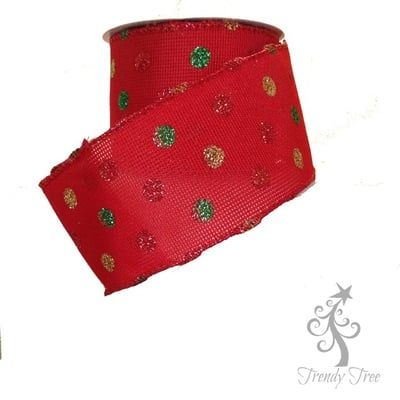 """2.5"""" Red with Green Gold Red Glitter Dots"""