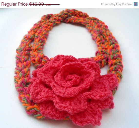 For today only Crochet Flower Scarf Necklace  by CRAZYBOOM on Etsy