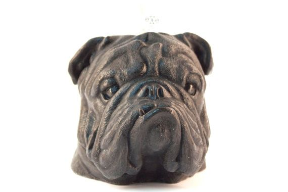 Bulldog Scented Candle  Scent Black / Vanilla + Caramel Size Candle - 16x 15x 13 cm, Weight 1kg