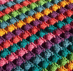 Free Quick Crochet Afghan Patterns | Blackberry Salad Striped Blanket - free stash buster afghan crochet ...