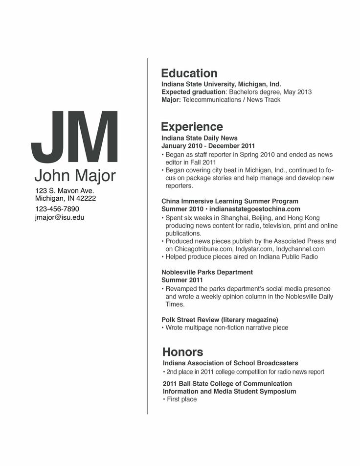 Resume Layout Example Best One Page Resume Template Resume Layout