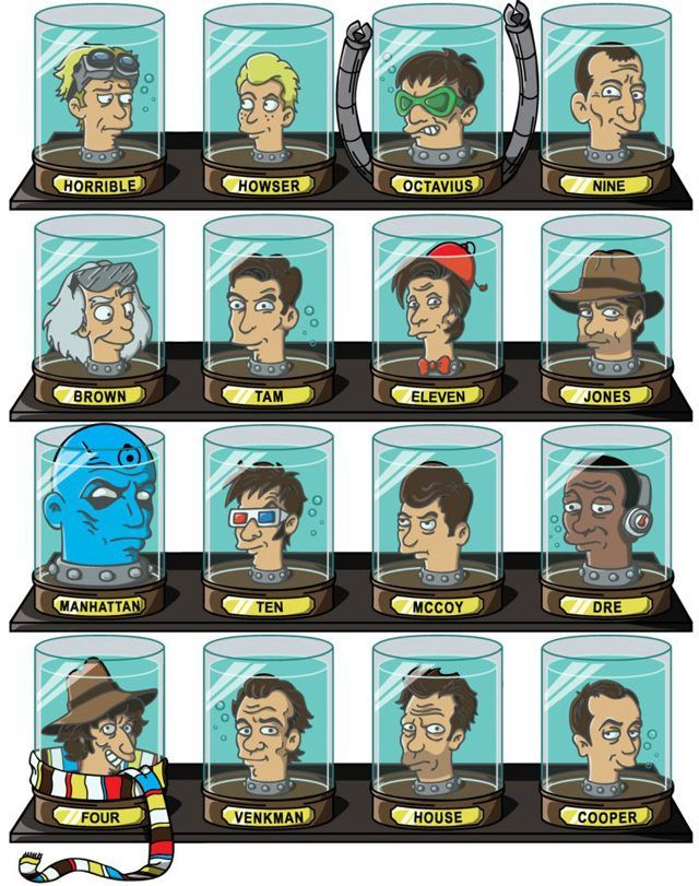 Doctors' Heads in Futurama Head Jars