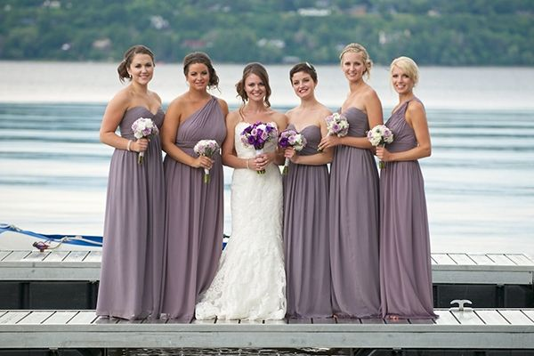 Taupe dresses with purple and white flowers - beauty! #OttawaWedding #PurpleWhiteBouquets