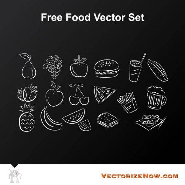 ícones do alimento doodle no fundo do quadro Vetor grátis