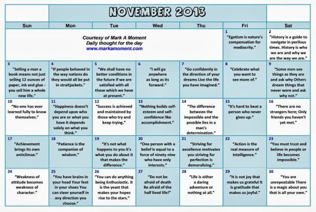 Monthly Calendar Quotations : Daily thoughts motivational calendar monthly