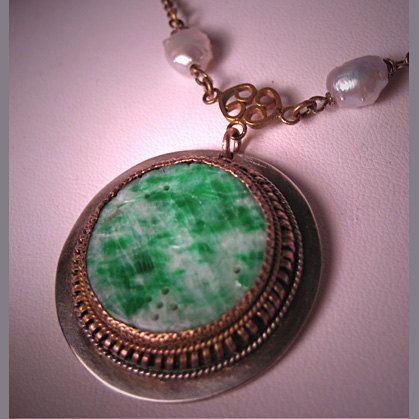Antique Jade Necklace Silver Pearl Art Deco Jewelry 20s via Etsy