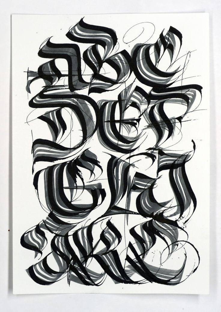 Calligraphi.ca - Letters - Brush and Pilot Parallel Pen -Misha Karagezyan