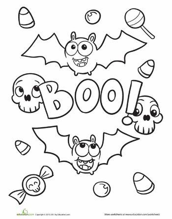 Worksheets: Halloween Bat Coloring Page