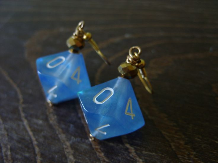 turquoise D10 dice earrings see through transparent teal translucent crystal…
