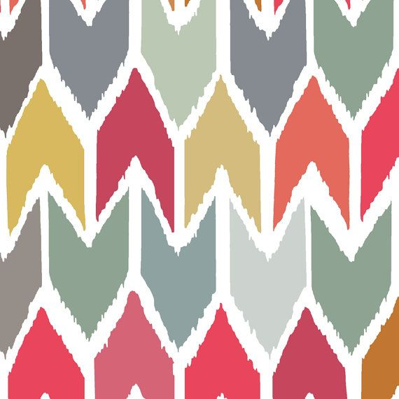 Ikat Chevron Fabric  Beach House Ikat Chevron Small by Spoonflower