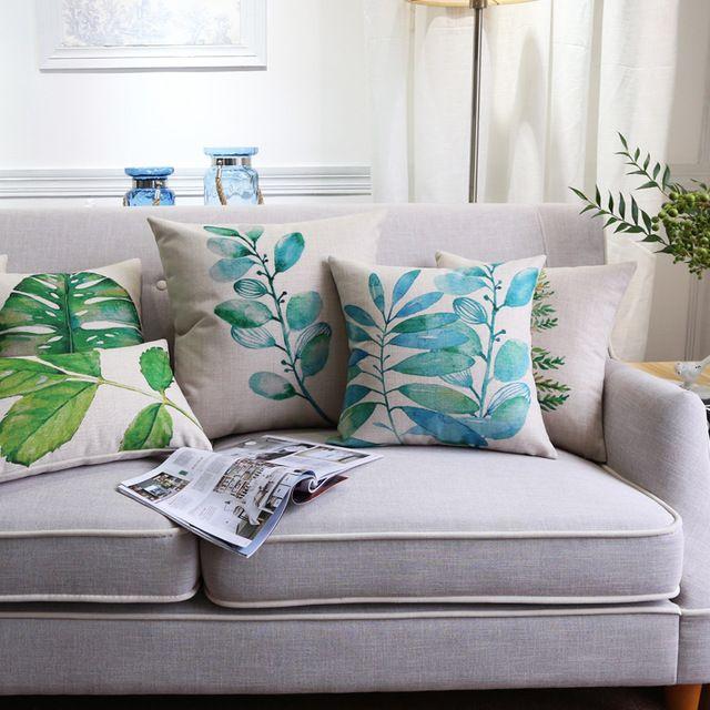 тропические листья зеленые загородного дома декор подушка чехол хлопок диван бросить подушку на Алиэкспресс русском языке рублях