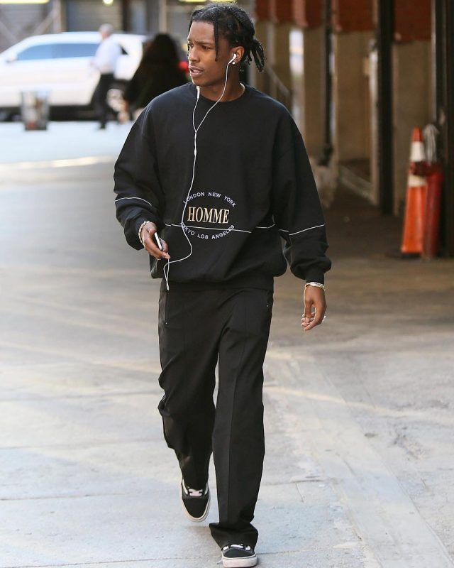 ASAP Rocky Out In NYC Wearing Balenciaga Sweatshirt and Vans Sneakers | UpscaleHype