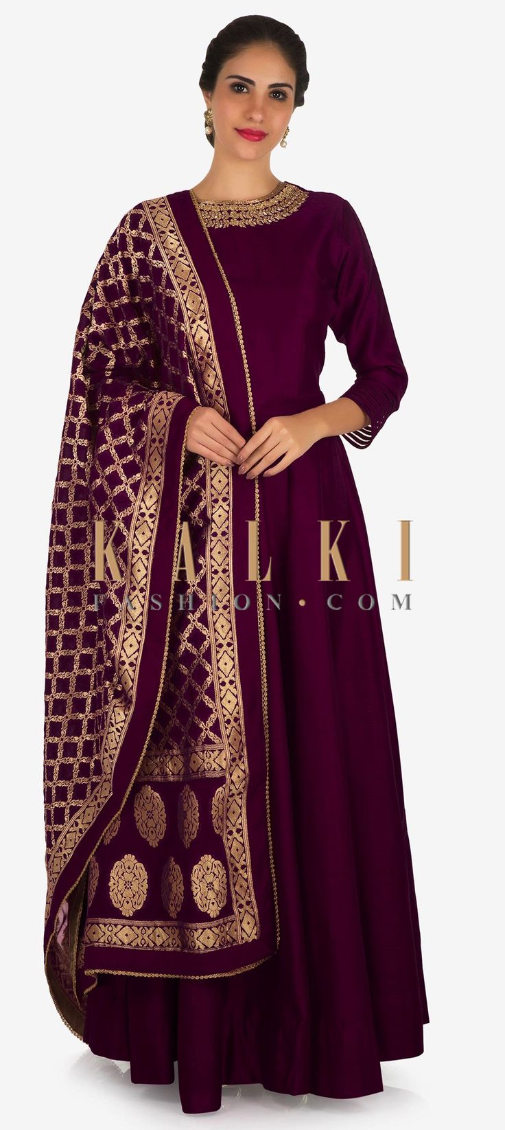 Buy Online from the link below. We ship worldwide Click Anywhere to Tag Magenta anarkali suit in silk with a banarasi brocade dupatta adorn in cutdana and kundan work only on Kalki