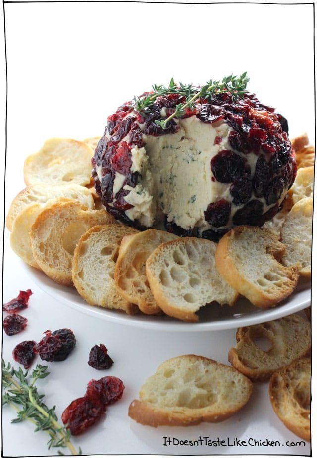Cranberry Thyme Vegan Cheese Ball Recipe Vegan Cheese Recipes Vegan Christmas Recipes Vegan Cheese
