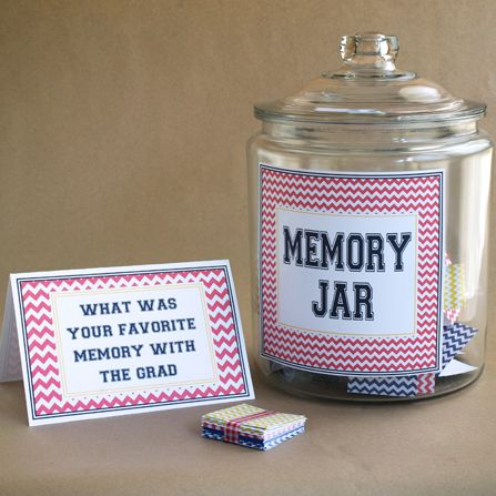 Memory Jar - Can do any theme or pattern or colors with the cards.  Would be great to put into a scrapbook with pictures from the party of the person who wrote the note.