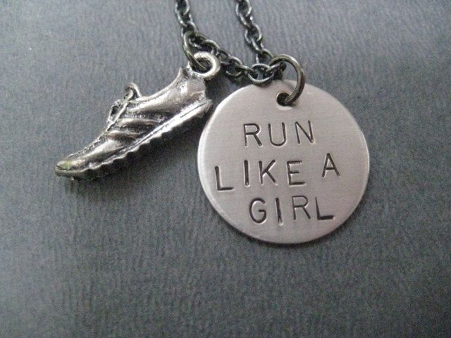 RUN LIKE A GIRL Round Pendant with Running Shoe - Running Necklace . this would make a cute gift for a marathon runner or track star