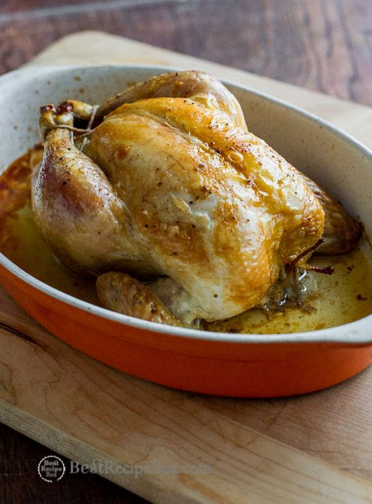 Easy Recipe for roasted whole chicken or baked chicken in the oven. This quick and easy chicken recipe has basic salt, pepper, oil and whole chicken.
