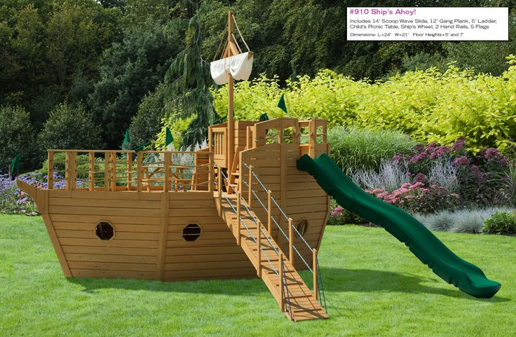 Outdoor wooden pirate ship swing set tree house - Wooden pirate ship playhouse ...