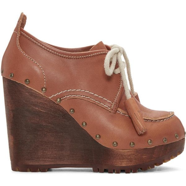 See by Chloé Brown Clive Clog Boots ($130) ❤ liked on Polyvore featuring shoes, boots, ankle booties, brown, platform wedge boots, brown wedge boots, wedge booties, wooden clogs and lace up boots