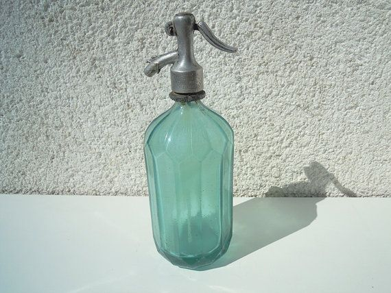 Vintage Light Green Seltzer Bottle Romanian by AtticFindsBoutique