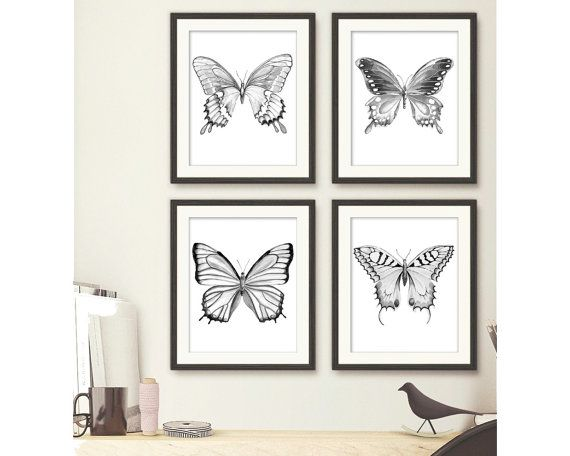This is a Set of 4 Archival Prints of my original hand painted butterflies series in Black, White and Grey watercolor paintings.  Choose your