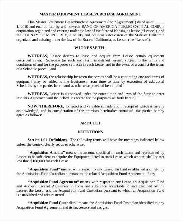 Lease Purchase Agreement Template Lovely 9 Sample Lease Purchase Agreements Purchase Agreement Agreement Templates