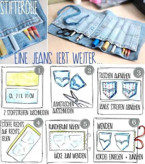 """Habt ihr eine alte Jeans im Schrank, die ihr nicht mehr tragen wollt? Dann haucht ihr doch neues Leben ein – zum Beispiel als Stifterolle! Die kann jeder brauchen, ob für Kugelschreiber, Malstifte oder Schminkstifte… Die ganze Anleitung hier:<a href=""""http://alessa-accessoires.blogspot.de/2014/02/diy-alte-jeans-stifterolle.html"""