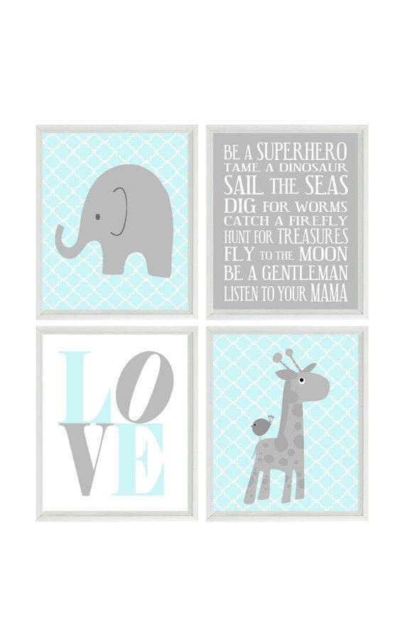 Nursery Art Elephant Giraffe Quatrefoil Nursery Prints Gray Aqua Baby Boy  Wall Art  Love Baby Nursery Decor Playroom Rules Quote - 4 8x10