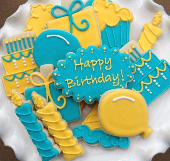 Happy Birthday Celebration Sugar Cookies by NotBettyCookies, $32.00 well worth the price for the time and details.