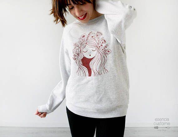 Sudadera chica con ilustración Poppy Sudadera gris
