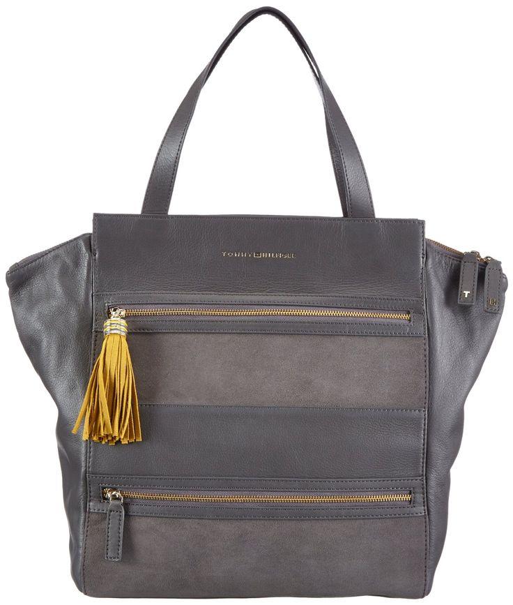 Tommy Hilfiger ANDREA Henkeltasche: Handtasche aus Leder in den Farben blau, grau, rot und schwarz zum Preis von 269,90 Euro