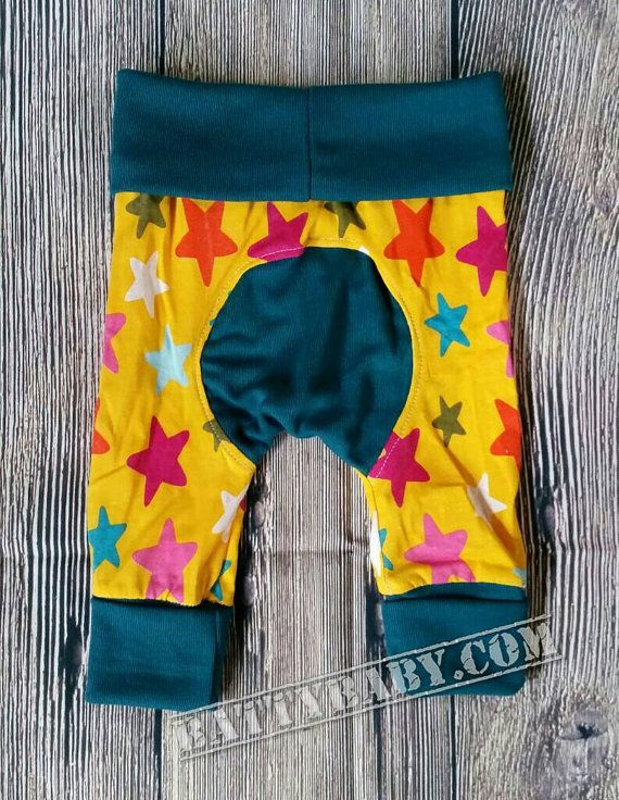 """Size newborn to 6mth - Magic Squishiloones """"Grow With Me"""" STAR Pants, super comfy! Handmade baby pants cloth or disposable nappies diapers"""