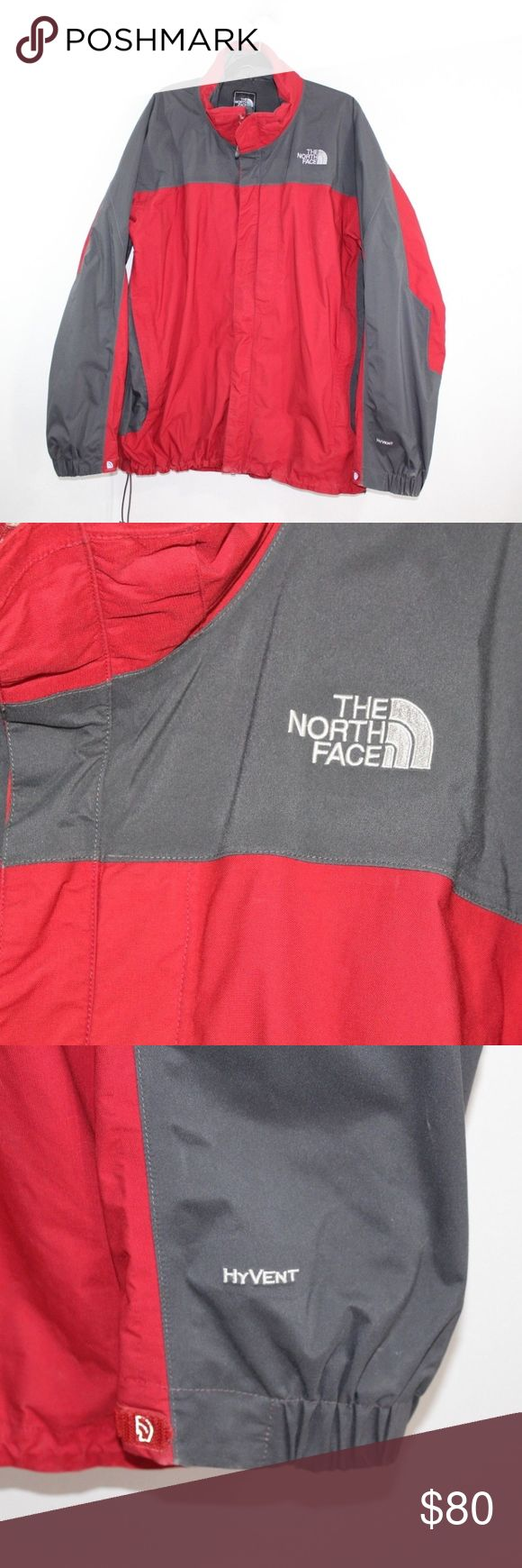 The North Face HyVent Varius Guide Jacket 2XL Red The North Face HyVent Varius Guide Jacket  Jacket  Comes from a smoke-free household. No hood  The size is 2XL and the measurements are 27 inches underarm to underarm and 31inches top to bottom. Neck seam to cuff is 34 inches  Red and Gray  Nylon  Check out my other items in my store!  J9 The North Face Jackets & Coats Performance Jackets