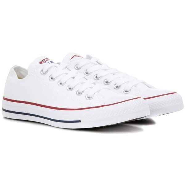 Converse All Star OX Canvas Sneakers ($46) ❤ liked on Polyvore featuring shoes, sneakers, converse, white, converse trainers, converse shoes, plimsoll shoes, white shoes and star shoes