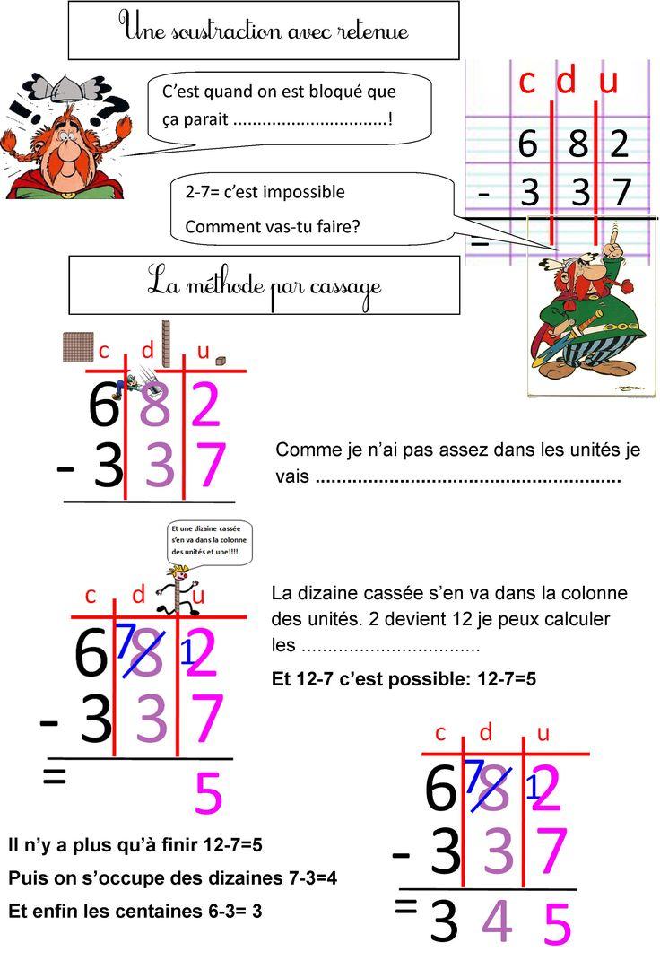 La soustraction avec retenue primaire maths 2 calcul - Soustraction sans retenue ce2 ...