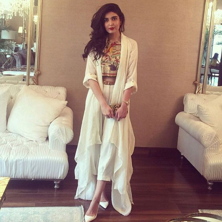 """#ShazahAyub @shazah7 spotted in our #Kantha crop top and white draped over from our SS'15 collection on Eid #UmaimaMustafa #ootd #karachi #lahore…"""