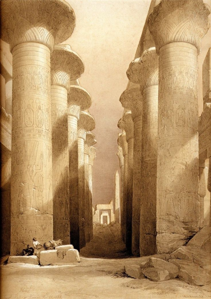 ♔ Temple of Karnak ~ Luxor ~ Egypt, watercolour by English artist ...David Roberts R.A. (Royal Academy) (1796-1864)