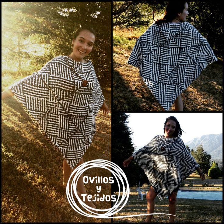 Mi primer poncho en telar cuadrado / I made my first poncho with square loom :) www.fb.com/ovillosytejidos www.ovillosytejidos.weebly.com