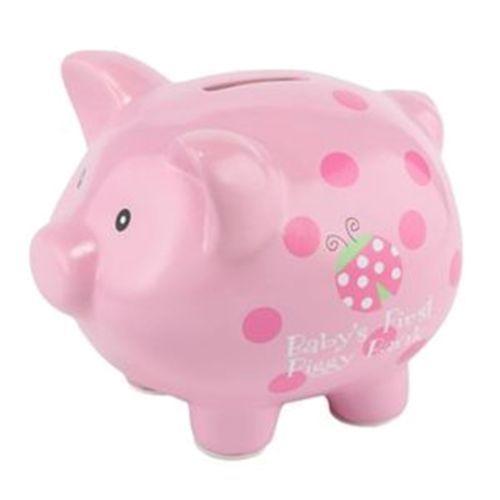 NEW-GIRLS-BABY-ESSENTIALS-LADYBUG-PINK-PIGGY-BANK~