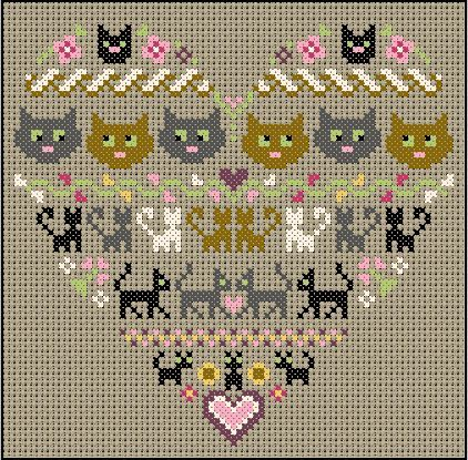 cats cross stitch: