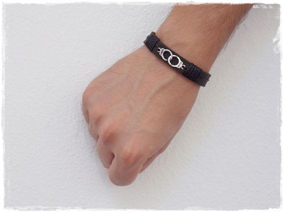 Dom Leather Cuff, BDSM Leather Bracelet, Handcuff Bracelet, Men's Leather Cuff…