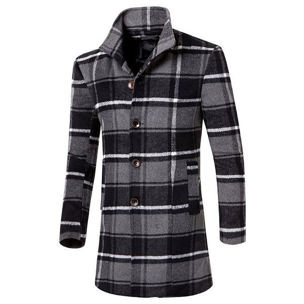 s Styliah Plaid Coat (€42) ❤ liked on Polyvore featuring men's fashion, men's clothing, men's outerwear, men's coats, grey, mens plaid sport coat, mens fur collar coat, mens single breasted pea coat, mens grey coat and mens gray pea coat