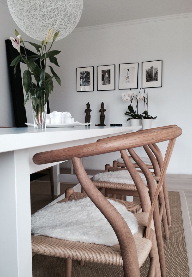 Wegner y chair and ikea norden dining table new apt pinterest - Scandinavian style dining table ...