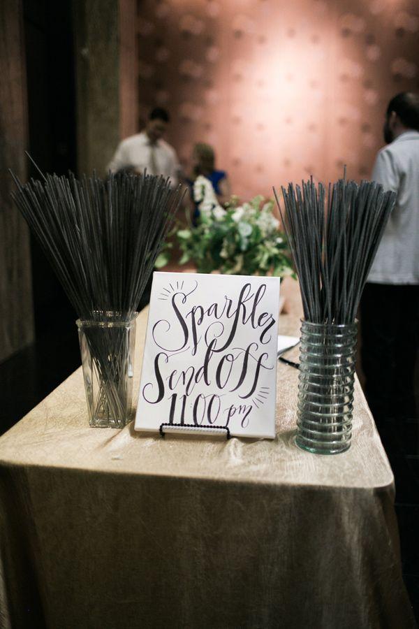 sparkler sendoff sign - photo by Aubrey Marie Photography http://ruffledblog.com/romantic-ballroom-wedding-in-tulsa