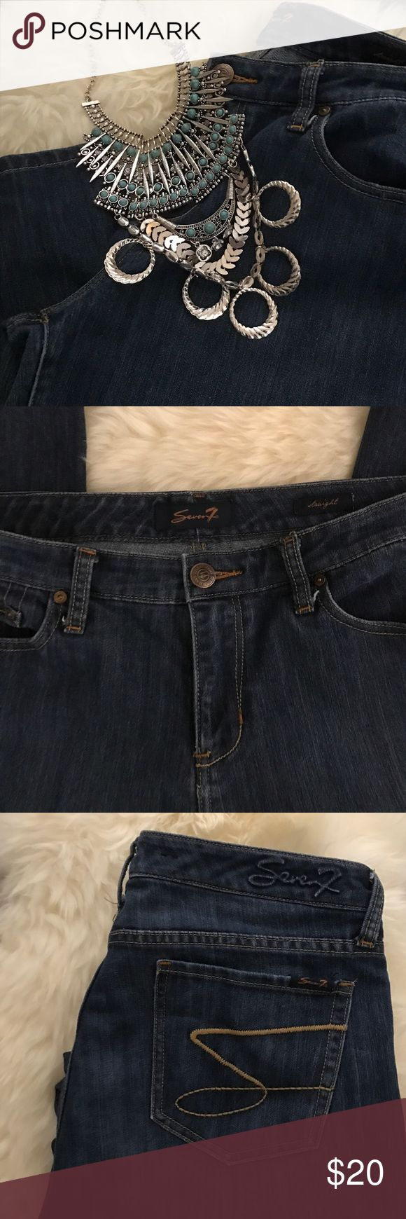 """EUC Seven7 Jeans Dark wash Seven7 straight leg jeans EUC. SZ 12.                                                                  ✅NO TRADES🚫OFFLINE DEALS ✅OFFERS ENCOURAGED ✅ASK ANY QUESTIONS  ✅REFER TO ALL PICS APART OF """"ITEM DESCRIPTION"""" ✅LISTED MULTIPLE SITES ✅SMOKE/PET FREE ***necklace not for sale*** ♻️SHIPPING BOXES/PAPER Seven7 Jeans Straight Leg"""
