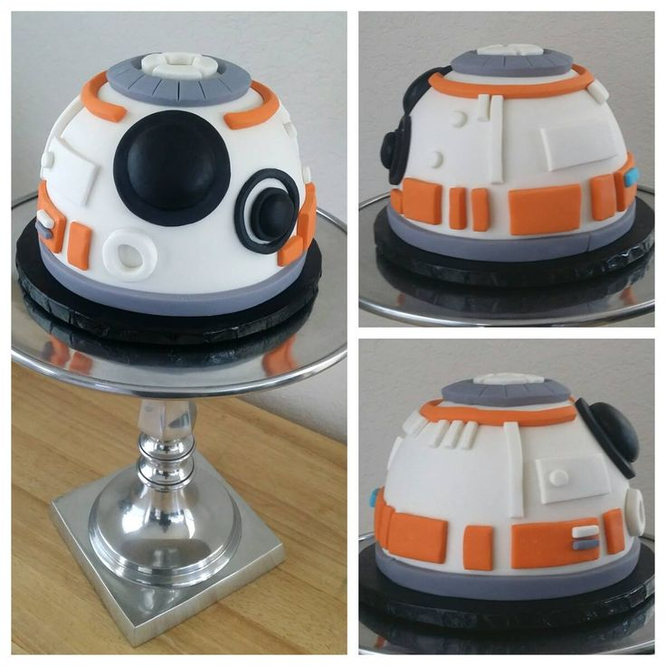 BB-8 Cake with fondant and a sphere cake pan.