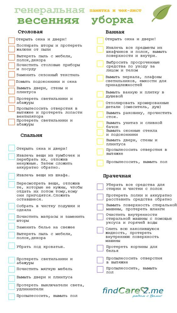 Чек-лист весенняя генеральная уборка. 2 часть:
