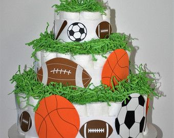 Set of 5 Mini Sports Themed Diaper Cakes Sports Diaper Cakes
